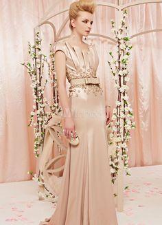 Gorgeous Brown Sheath Scalloped-Edge Neck Flower Matte Satin Evening Dress for Women - Milanoo.com