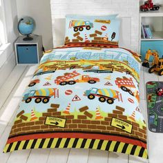 Under Construction, boys, colourful single bedding for little builders.