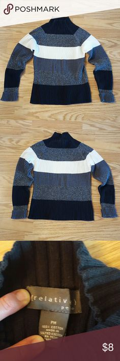 Women's Relativity Sweater This sweater is in good used condition!! It's multicolored, stripped, and has cuffed sleeves!! This is a cute sweater;) Relativity Sweaters Cowl & Turtlenecks