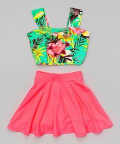 Mint Floral Crop Top Set - Girls, Summer Outfits, Look at this Mint Floral Crop Top Set - Girls on today! Girls Summer Outfits, Cute Outfits For Kids, Casual Summer Dresses, Trendy Dresses, Cute Dresses, Girl Outfits, Fashion Outfits, Dress Casual, Dress Summer