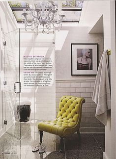 Skylight above shower, chandelier, vintage pic, George Smith Chair