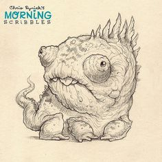 Reptiles are my favorite class of animals. I mean, look at him! With his goony, multi-directional, independent, monocular eyeballs...what's not to like?  #morningscribbles | 출처: CHRIS RYNIAK
