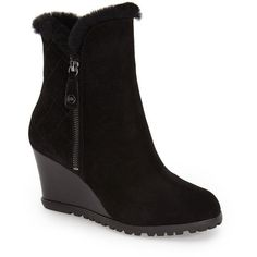 MICHAEL Michael Kors 'Whitaker' Water Resistant Wedge Bootie With... ($177) ❤ liked on Polyvore featuring shoes, boots, ankle booties, ankle boots, black, black bootie, high heel booties, shearling-lined boots and wedge ankle boots