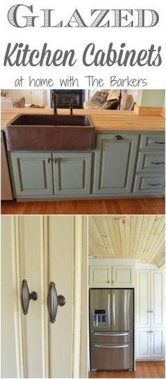 Design Decor - Glazed Kitchen Cabinets with Farmhouse home charm!