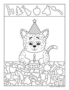 00 Happy Birthday Hidden Picture Activity Pages Birthday Cat I Spy Worksheet Kindergarten Activities, Activities For Kids, Crafts For Kids, Happy Birthday, Cat Birthday, Hidden Picture Puzzles, C Is For Cat, I Spy Games, Hidden Pictures
