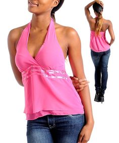 Halter V-Neck Tiered Layered Chiffon Stretch Blouse Contrast Stripe  #Fashion #Halter #Casual