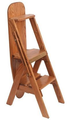 Make navigating the high shelvesf of your kitchen easier with a strong and durable hardwood Amish step stool - made in America with Integrity throughout. Folding Furniture, Space Saving Furniture, Unique Furniture, Wood Furniture, Amish Furniture, Woodworking Projects Diy, Wood Projects, Woodworking Plans, Ladder Chair
