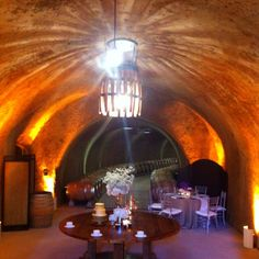 it's a wine cave!with a wine barrel chandelier Wine Barrel Chandelier, Safe Vault, Wine Cellars, Simple Rules, Vaulting, Caves, Feel Better, Knot, Landscaping