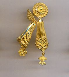 Leaf Jewelry, Gold Jewellery, Gold Jhumka Earrings, Drop Earrings, Jhumka Designs, Saree, Fancy, Jewels, Gold Jewelry