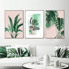 Green Tropical Leaves Monstera Leaf Palm Banana Live Quote Canvas Painting Poster Print Wall Art Pictures Living Room Home Decor Diy Canvas Art, Canvas Art Prints, Painting Prints, Wall Canvas, Wall Art Prints, Poster Prints, Leaf Wall Art, Leaf Art, Canvas Quotes