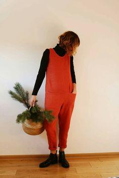 Linen Jumpsuit Burnt Orange Linen Jumpsuit Linen Overall