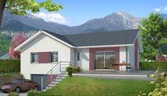 Plan de maison en L Oisans - plan maison gratuit Hillside House, Compact House, Contemporary House Plans, Detached House, Planer, My House, Floor Plans, Outdoor Structures, House Design