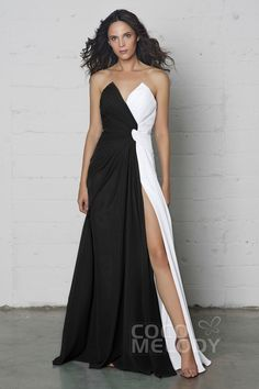 Charming Sheath-Column V-Neck Natural Floor Length Chiffon Sleeveless Zipper Pleating and Split COZF17003Cocomelody#prom dress#party#dresses#