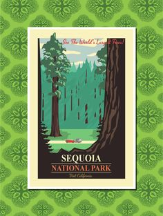 Sequoia National Park Travel Poster Wall by TheWorldTravelers Could be pretty and bright to get a few national park posters for office