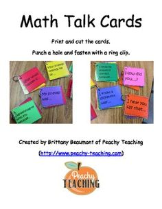 Here's a simple set of math talk cards with sentence stems to prompt kids to discuss their work and ideas.