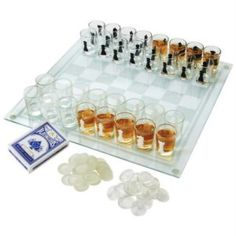 Bring endless fun to you and your friends with our Checkmate! The set includes a game board, and 32 shot glass chess pieces, turning each rook and pawn you capture into a shot. Easily set up for a game of shot glass checkers with the glass chec