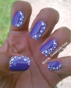 16 Fabulous Purple Nail Designs to Try: #9. Purple Nail Design With White Dots …