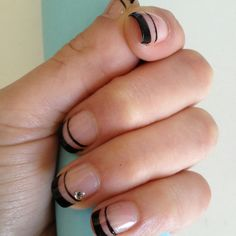 black french tips nails