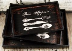 Bon Appetit Three Piece Serving Tray Set Not really boho but for the price you could decoupage the hell out of these and come away with something awesome. Boho Kitchen, Kitchen Redo, Wooden Crate Boxes, Save On Crafts, Floral Supplies, Vintage Wood, Cozy House, Bon Appetit, Painting On Wood