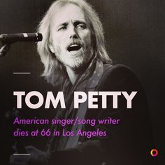 """Tom Petty the American singer/songwriter died on Monday in Los Angeles at the age of 66. Petty's music was a staple of rock and roll radio for decades with hits like """"Free Fallin'"""" Refugee Dont Come Around Here No More and Into the Great Wide Open. He sold millions of albums and headlined arenas and festivals as late as a few weeks ago. He famously played the Super Bowl halftime show in 2008 and was inducted into the Rock & Roll Hall of Fame in 2002. . Petty passed away at the UCLA Medical…"""