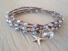 "Surfer chic crochet 3x wrap bracelet necklace 2x anklet ""Twinkle Star"" iridescent blue, Sterling silver starfish, winter beach bohemian. $32.00, via Etsy."