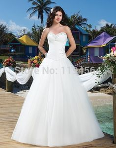 >> Click to Buy << Free Shipping Sweetheart Wedding Dresses 2014 Organza Beaded Bridal Gowns Organza Vestido De Noiva  A Line WH934 #Affiliate