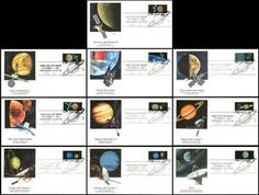 Set includes: 2568 Mercury - Mariner 10 / 2569 Venus - Mariner 2 / 2570 Earth - Landsat / 2571 Moon - Lunar Orbiter / 2572 Mars - Viking Orbiter / 2573 Jupiter - Pioneer 11 / 2574 Saturn - Voyager 2 / 2575 Uranus - Voyager 2 / 2576 Neptune - Voyager 2 and 2577 Pluto - Not Yet Explored. Have description of the stamp subject printed on the back. ARE IN MINT, UNADDRESSED CONDITION.