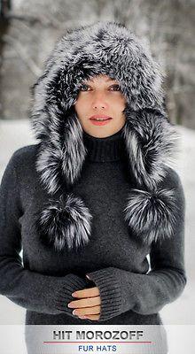SILBERFUCHS Pelzmütze Eskimo Chapka Damen Fellmütze Silver Fox Fur Hat Mütze Ski in Kleidung & Accessoires, Damen-Accessoires, Hüte & Mützen | eBay