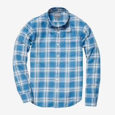 Bonobos Lightweight Flannel ($98) ❤ liked on Polyvore featuring mens, men's clothing, men's shirts, men's casual shirts and blue plaid