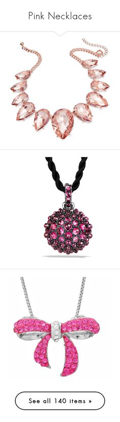 """""""Pink Necklaces"""" by melzy ❤ liked on Polyvore featuring jewelry, necklaces, accessories, pink, rose gold, teardrop necklaces, crystal statement necklace, crystal jewelry, pink statement necklace and crystal bib statement necklace"""