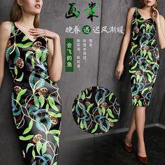 Leaves Leaf Foliage Owl Print Black Stretch Silk Satin Fabric