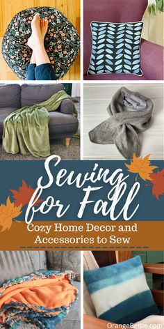 Sewing for Fall: Cozy Home Décor and Accessories - Orange Bettie Fall Sewing Projects, Scrap Fabric Projects, Sewing Patterns Free, Free Sewing, Sewing Ideas, Braided Fleece Blanket Tutorial, Coffee Cozy Pattern, Pumpkin Applique, Applique Pillows