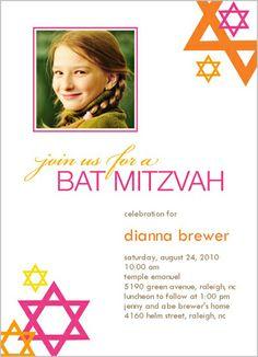 Bat Mitzvah Mod 5x7 Stationery Card by Vanilla Print shutterfly