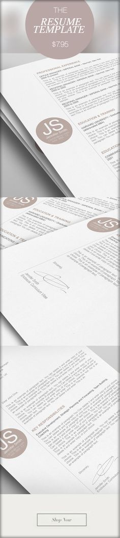 Elegant Resume Template 110572 - Premium line of Resume & Cover Letter Templates. Easy edit with MS Word, Apple Pages - From $7.95