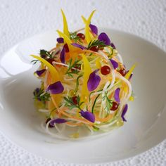 "Vegetable Capellini Salad"" turnip,carrot,zucchini,pickled onion with saffron. Decoration Patisserie, Food Decoration, Food Design, Wine Recipes, Gourmet Recipes, Gourmet Salad, Molecular Gastronomy, Culinary Arts, Food Presentation"