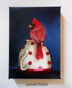 'A CUP OF CHEER' .Bird Teacup painting original still life Cardinal art by 4WitsEnd, via Etsy