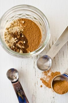 [ DIY Homemade Pumpkin Pie Spice ] Make your own pumpkin pie spice. 2 teaspoons ground ginger; 2 teaspoons ground; cinnamon; 1/8 teaspoon ground nutmeg; 1/4 teaspoon ground cloves. *Recipe Note: This recipe makes just the right amount for 1 pumpkin pie. To make enough to store and use later or to give as gifts, at least quadruple the measurements. ~ from penniesonaplatter.com