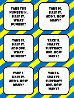 Use these mental math cards to practice math vocabulary and strengthen mental math skills. Strategies covered include halves, doubling, even or odd, adding and subtracting, and basic place value. Math Strategies, Math Resources, Math Activities, Educational Activities, Math Tips, Educational Technology, Math Tutor, Teaching Math, Cardinal Numbers