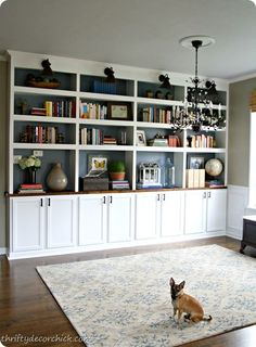 Bookcase ideas for backroom. splice out two shelving units in middle to frame in a tv and change doors underneath to open face shelving. love the back splash of color but am thinking about doing that to bead board to add texture!