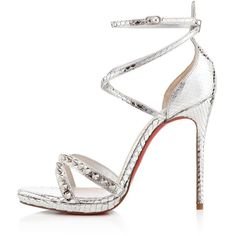Pre-owned Christian Louboutin Heels ($1,100) ❤ liked on Polyvore featuring shoes, heels, sandals, christian louboutin, sapatos, pumps, dress shoe, apparel & accessories, silver and python print shoes
