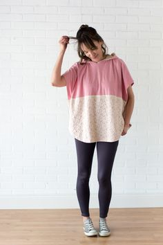 Gym to brunch outfit - Lace and knit hooded circle top - so cute and easy to sew with a free hood pattern from Melly Sews