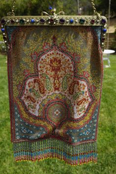 RARE PAISLEY MICRO-BEADED PURSE/BAG W/ JEWELED FRAME EXCELLENT CONDITION #Handmade #EveningBag