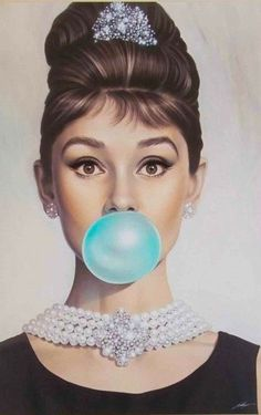 Audrey Hepburn with a Tiffany blue pop!