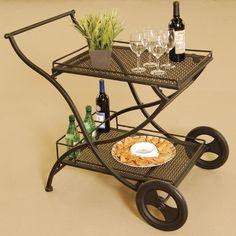 Outdoor wrought iron serving cart