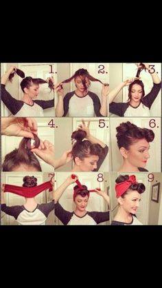 Last-Minute Costumes You Can Make With Stuff You Have! Peinado pin up girl. I would love to do this to my hair!Peinado pin up girl. I would love to do this to my hair! Cabello Pin Up, Pelo Retro, Estilo Retro, Look Rockabilly, Rockabilly Party, Rockabilly Nails, Rockabilly Ideas, Rockabilly Outfits, Rockabilly Fashion
