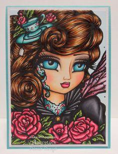 "Card featuring ""Tea Rose Fairy"" from Hannah Lynn arts. Handmade by Deborah Deruyck"