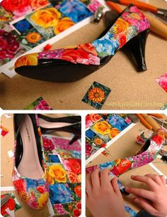 Mod Podge Shoes Project. Recover old shoes with mod podge and pictures. A fun way to customize wedding shoes. http://hative.com/cool-and-easy-diy-mod-podge-crafts/
