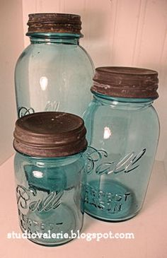 A trio of blue Ball canning jars was the perfect thrift store find this morning!