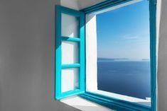 An open window to Caldera and Aegean sea! Imerovigli Santorini, Open Window, Luxury Living, Villa, Windows, Traditional, Sea, Explore, Blue
