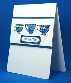 Handmade Thank You Or Any Occasion Card Three Cups Of Tea Navy White | cardsbylibe - Cards on ArtFire